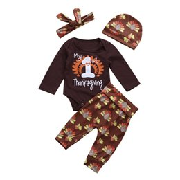 Wholesale christmas hat newborn - Mikrdoo Newborn 2017 Baby Christmas Clothes Suits My First Thanksgiving Harvest Romper Trukey Flowers Pants Hat Headband 4pcs Casual Outfts