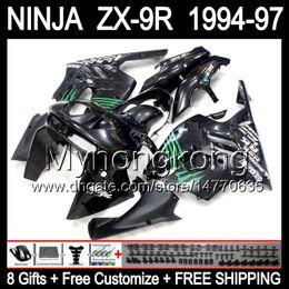 Wholesale 94 Zx9r Fairing Kit - 8Gifts+Customize For KAWASAKI NINJA Glossy black ZX-9R 94-97 Y1519 ZX 9R 9 R ZX9R 94 Green black 95 96 97 1994 1995 1996 1997 Fairing Kit