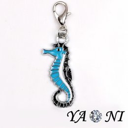 Wholesale Horse Dangling Charms - Alloy Blue Sea Horse Floating Charm Pendant with Lobster Clasp Floating Locket Dangle Charm for Glass Locket