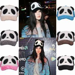 Wholesale Plush Caps - 2015 Cute Casual Women Plush Cartoon Panda Snapback Hats Winter Warm Caps Outdoor Travel Sports Hats Mix Colors Choose ENE