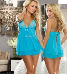 Wholesale Sexy Girls Mini Clothes - Free shipping Hot Women's Sexy Lace Dress Underwear Black Babydoll Sleepwear Hot Dresses Fashion Girls' Clothing