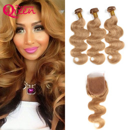 Wholesale Body Hair Bleaching - Brazilian Human Hair Bundles With Lace Closure #27 Honey Blonde Virgin Hair Wefts With Lace Closure Bleached Knots Body Wave Blonde Hair