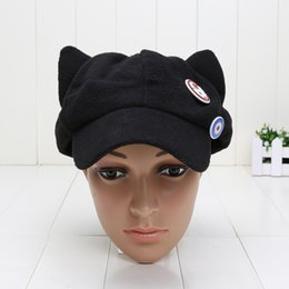 Wholesale Eva Hats - New Arrival Evangelion cosplay Asuka Langley Soryu hat and badges EVA Cat Ear Polar Fleece Hat Peak