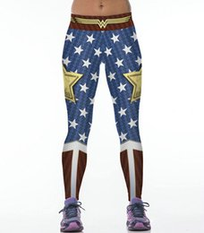 Wholesale Blue Wonder Blueing - Wonder Woman pants Unique cool tight Film printing women gym clothing Girl sport wear Fitness training sportwear Exercise trousers