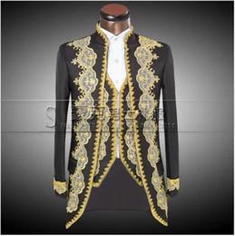 Wholesale Long Tails Jacket - ( Jacket + pants + vest ) 2016 New Fashion Men suits slim fit Court tails groom wedding dress suit embroidered male tuxedo