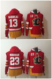 Wholesale Black Jacket Men Flame - Calgary Flames 13 Johnny Gaudreau 23 Sean Monahan hockey Jersey Hoodie Pullover Sweatshirts Winter Jacket Top Quality ! 100% Stitched