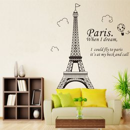 Wholesale Wall Background Sticker Paris - Paris Eiffel Tower Wall Sticker Removable PVC Bedroom Living Room TV Background Wall Decals Home Decorations