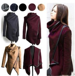 Wholesale Wool Shorts For Women - Fashion Fall Winter Clothes for Women New European and American Wool & Blends Coats Ladies Trim Personality Asymmetric Rules Short Jack