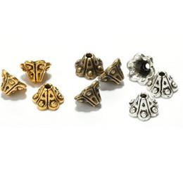 Wholesale End Cap For Bracelets - 50 pcs lot Trumpet Petunia Flower End Tips Bottom Bead Caps End Beads For DIY Jewelry Making Bracelets