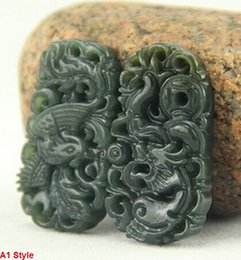 Wholesale Red Jade Dragon Pendant - Rare Xinjiang Jade Pure Hand Polished Carving A Pair of Dragon Phoenix Pendant Necklace
