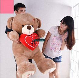 Wholesale Cartoon Heart Pillow - Dorimytrader NEW Lovely 120cm Huge Soft Cartoon Heart Bear Plush Toy 47'' Big Stuffed Teddy Bear Doll Pillow Lover Gift DY61352