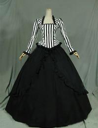 Wholesale Long Night Gown Xl Cotton - Customized 2016 Retro White Black Civil War Victorian Steampunk Black White Stripes Ball Gown Dress Reenactment Stage Costume