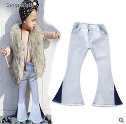 Wholesale Wholesale Vintage Girls Clothing - Girls Jeans Pants Girls Bell-bottomed Pants Spring Children Trousers Outfits Baby Costume Kids Vintage Jeans Overalls Boutique Clothing
