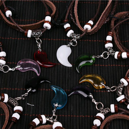 Wholesale Glass Heart Bulk - Fashion Jewelry Leather Necklace Bracelet In Bulk Unisex Yin Yang Master Glass Crystal Bracelet Pendant Necklace Mix Colors