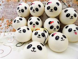 Wholesale Key Panda Free Shipping - 100pcs lot Free Shipping 4cm Jumbo Panda Squishy Charms Kawaii Buns Bread Cell Phone Key Bag Strap Pendant Squishes Bag Parts & Accessories