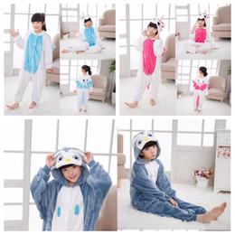 Wholesale flannel pajamas sets - 3 Designs Kids Flannel Unicorn Warm Pajamas Children's Unicorn One-piece Home Cosplay Sets Convenient on Toilet Design CCA7509 50pcs