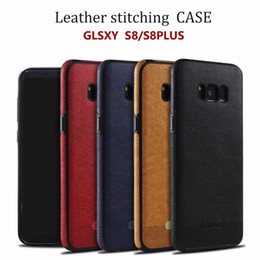 Wholesale Mint Drop - Leather Stitching Pouch Case For Samsung S8 S7 Edge Plus Note 8 TPU Soft Shell Full Protection Anti-drop Cover For Apple Iphone X 8 7 6 Plus
