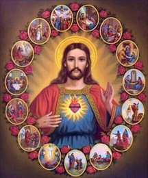 Wholesale Embroidery Collection - HWF-195 Diy Diamond Painting home decor crystal Jesus collection 3D cross stitch pattern diamond embroidery gift 50X60CM