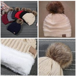 Wholesale Wholesale Fedora Hats For Women - Unisex CC Hats Winter Knitted Beanie with Fur Poms CC warm Fedora Luxury Cable Slouchy Skull Caps Beanies Outdoor Hats for men and women