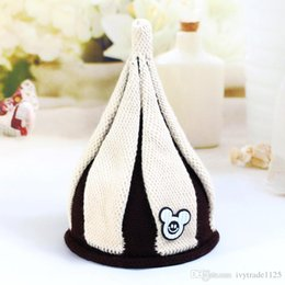 Wholesale Mouse Boys - 5 colors Korean styles New arrivals windmill woolen hat Children Handmade winter warm boy girl Pointy hat Knitted Hat with mouse accessory