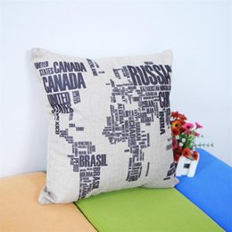 Wholesale Word World - Wholesale- Creative Black Words World Map Throw Pillow Case Home Office Decal Wedding Gift Pillow Cover Fashion Book Store Decals Mural Art