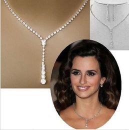 Wholesale Necklace Sparkling Earrings - Sparkle Wedding Jewellery Rhinestone Necklace Set Rhinestone Cheap Bling Bridal Jewelry Sets Earrings for Women PJ001