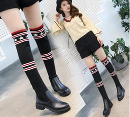 Wholesale Trendy Motorcycle Boots - Trendy Design Beading Belted Thigh High Denim Boots Sexy Stiletto Heel Pointy Boots Plus Size Fashion Shoes Women college style