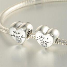 Mejor estilo de cuentas online-5 unids / lote Mejores amigos encantos beads S925 plata esterlina encaja pulseras estilo pandora AMISTAD CORAZÓN CHARM 791727CZ H9
