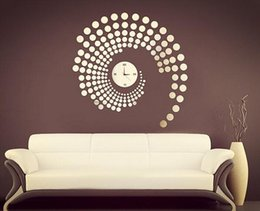 Wholesale Wall Clock Dots - Peacock shaped dot DIY stereo mirror clock Home Furnishing decorated marriage room layout decoration mirror wall sticker