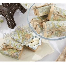 """Wholesale Holiday Party Themes - FREE SHIPPING 50PCS """"Around the World"""" Map Candy Boxes Traveling Theme Wedding Favors Souvenirs Party Favor Holder Table Setting Ideas"""