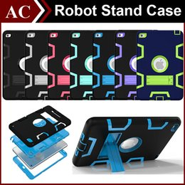 Wholesale Waterproof Skin Ipad Air - 3 In 1 Shockproof Kids PC + Rubber TPU Hybrid Robot Case for iPad Mini 1 2 3 4 Air 6 Pro Heavy Duty Shell With Stand Skin Cover DHL