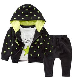 Wholesale Three Stars Pants - Stars Casual Wear Baby Sportwear 3pcs Clothing Sets Hooded Outer Long Sleeves T-shirt Pants Two Prints Design