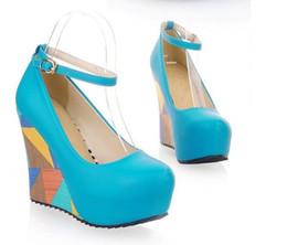 Wholesale Wedding Peep Toe Wedges - adoration bright blue 4 colors tassels suede peep toe platform wedges heel designer shoes 4 colors