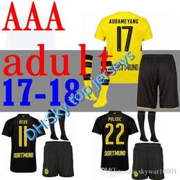 Wholesale Borussia Dortmund Jersey Reus - top quality 2017 2018 Borussia Dortmund adult soccer jersey KITS REUS AUBAMEYANG Dembele WEIGL PULISIC 17 18 men's Set +sock Football S