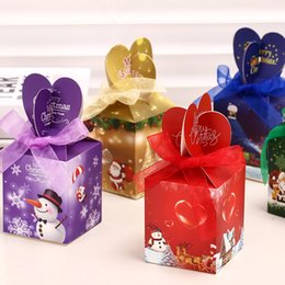 Wholesale Christmas Eve Gift Boxes - New Happy Christmas Bow Gift Box Cute Candy Chocolate Dessert Paper Boxes Christmas Apple Box Christmas Eve Gift Boxes 12pcs