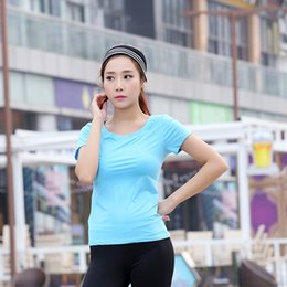 Wholesale Workout Shirts For Women - Wholesale-New Design Women Breathable Yoga T-shirt Workout Clothes For Gym Running Jogging Quick Drying Sportswear Fitness Solid Top Y5206