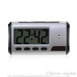 Wholesale Digital Clock Dvr - Free Shipping Digital Alarm Clock Spy Camera Video Recorder Hidden DVR Camcorder with Remote Motion Detection 640*480