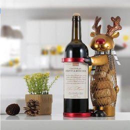 Wholesale Racks For Wine - Netted Xmas Reindeer Wine Rack Animal Wine Holder Cork Container Practical Crafts for Xmas Decoration Christmas Gift