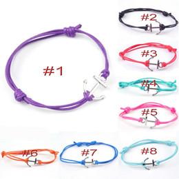 Wholesale Anchor Friendship Bracelets - MIC 20pcs Bohemian style Alloy Anchors Charm Bracelet Handmade Wax Cord Friendship Bracelet