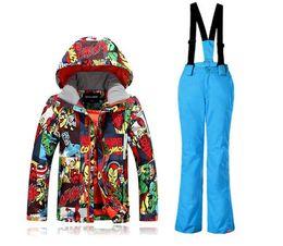 Wholesale Children Ski Suit - 2017 gsou snow new fashion ski suits children boy print graffiti ski suit suit windproof waterproof breathable