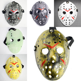 jason horror-hockey-maske Rabatt Maskerade Masken Jason Voorhees Maske Freitag der 13. Horrorfilm Hockey Maske Scary Halloween Kostüm Cosplay Festival Party Maske WX9-75