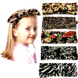Wholesale Girl Zebra Accessories - Girls Bow Headband Bohemian bunny Hairband lepoard flower printed zebra Baby Hair Accessories New arrival