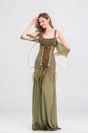 Wholesale Adult Halloween Ideas - Adult Women Halloween Fancy Elf Diy Costume Idea TinkerBell Cosplay Outfit Halter Dress Green Onesie For Girls Free Shipment