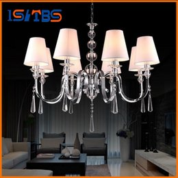 Wholesale Chandelier Lamp Shade White - For Foyer living room bedroom dinning room vintage hanging lamp modern with fabric shade chrome european crystal chandelier