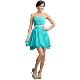 Wholesale Turquoise Cocktail Beaded Dress - Turquoise Short Cocktail Dresses 2016 Party Prom Gown with Beaded Knee Length Cocktail Dress Junior Homecoming Dresses free shipping