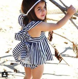 Wholesale American Girl Zebra Dress - (Bow skirt + shorts) 2016 baby summer clothes 70-80-90-100CM girl fashion climb clothes lace shorts sleeveless dress 8set A40