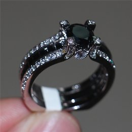 Wholesale Topaz Fashion Rings - Fashion 10KT White Gold Filled Princess-cut Black Topaz Simulated Diamond CZ ring set Engagement Wedding Bride Band Rings Finger for Women