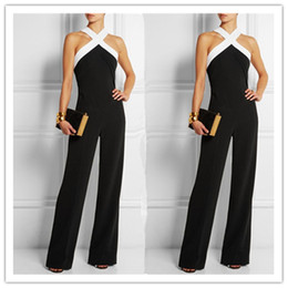 Wholesale Elegant Casual Pants Suits - 2017 New Arrival Halter Neck Long Jumpsuits Elegant OL Work Pants Suits Off Shoulder Sleeveless S- 3XL FashionWomen Jumpsuits Free Shipping