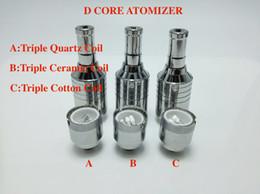 Wholesale Electronic Cigarette Cotton Cartomizer - D-CORE Triple coils wax atomizer Quartz Ceramic Cotton rob wax vaporizer dual heating coils wax cartomizer for 510 electronic Cigarette