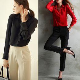 Wholesale Work Shirts Xxl - Wholesale-Blusas Femininas 2016 Women Shirt Chiffon Tops Elegant Ladies Formal Office Blouse 5 Colors Work Wear Plus Size XXL
